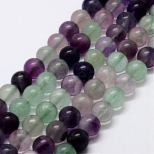 Natural Rainbow Fluorite Bead Strands G-P255-01-8mm