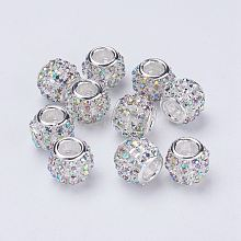 Silver Color Plated Alloy Grade A Rhinestone European Beads CPDL-J024-02S