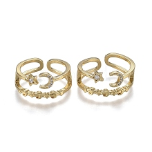 Adjustable Brass Micro Pave Clear Cubic Zirconia Cuff Rings ZIRC-Z002-13G