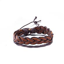 Adjustable Casual Unisex Braided Leather Bracelets BJEW-BB15584
