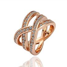 Real Rose Gold Plated Tin Alloy Czech Rhinestone Hollow Wide Band Rings For Women RJEW-BB09730-6RG