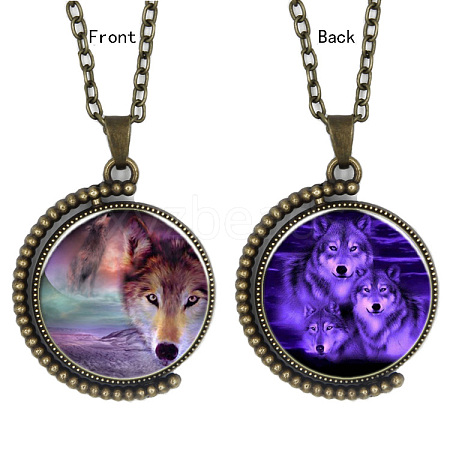 Double-sided Picture Glass Rotatable Pendant NecklacesNJEW-F200-08AB-1