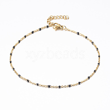 Vacuum Plating 304 Stainless Steel Cable Chain Anklets AJEW-K018-01A
