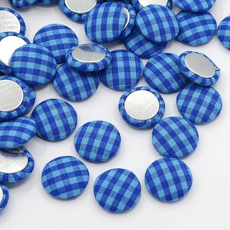 Scrapbook Embellishments Garment Accessories FlatBack Tartan Half Round Dome Cloth Woven CabochonsWOVE-F005-08-1