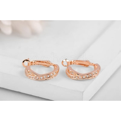 Real Rose Gold Plated Fashion Tin Alloy Austrian Crystal Hoop EarringsEJEW-AA00057-22-1