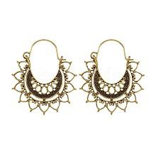 Bohemian Retro Style Alloy Dangle Hoop Earrings EJEW-TAC0003-02AG