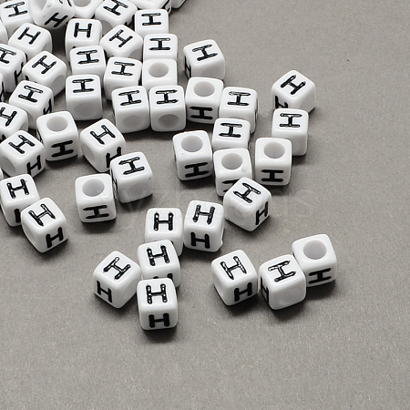 Large Hole Acrylic Letter European BeadsX-SACR-Q103-10mm-01H-1
