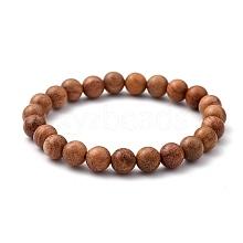 Unisex Natural Wood Beaded Stretch Bracelets BJEW-JB05463-01