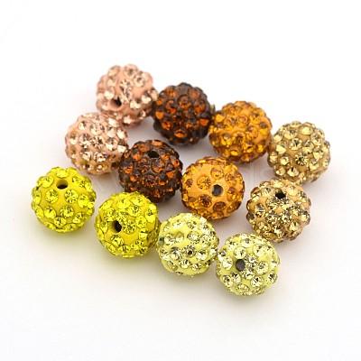 Round Pave Disco Ball Polymer Clay Rhinestone BeadsRB-X0003-02-1