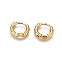 304 Stainless Steel Huggie Hoop Earrings EJEW-G272-01-8mm-G