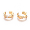 Golden Plated Brass Micro Pave Cubic Zirconia Cuff EarringsEJEW-L244-18G-1