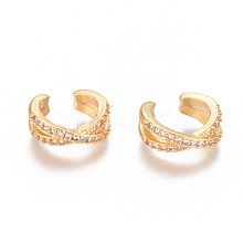Golden Plated Brass Micro Pave Cubic Zirconia Cuff Earrings EJEW-L244-18G