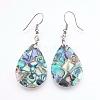 Abalone Shell/Paua ShellDangle EarringsX-EJEW-F147-C03-1